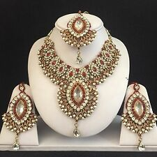 MAROON RED GOLD INDIAN COSTUME JEWELLERY NECKLACE EARRING CRYSTAL SET BRIDAL NEW