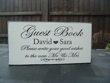 Wedding shabby n chic Guest Book Table Sign Plaque Free Standing 10x4