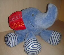 "GUND BABY Happy Moments Busybuds Elephant 11"" Blue plush Red Ears stuffed HTF"