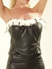 Ladies Black Gothic Leather Look Cruella De Ville Basque With Fur Trim Size 8