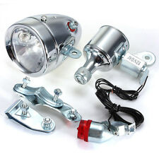 12V 6W Dynamo Headlight & Tail Light kit Set Fits Bicycles Motorized Bike New
