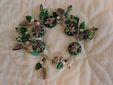 Handmade  Green Floral Lampwork Beads and Hill Tribe Silver Bracelet