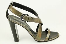 $695 Proenza Schouler Metallic Leather Gunmetal Grey Gray Heels Sandals 39.5 9US