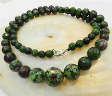 "Faceted 6-14mm Red Green Ruby Zoisite Round Beads Necklace 18""AAAAR"