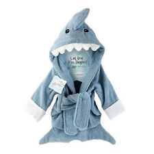 Blue Shark Baby Boy Dressing Gown Splash Wrap Bath Hooded Towel Robe BEST