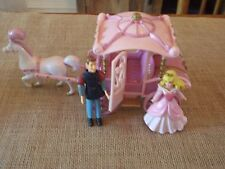 Polly Pocket Disney Princess Carriage Aurora Sleeping Beauty Pink Prince Lot