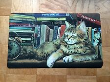 Library Cat Cushion Floor Mat Meow Kitty Vintage Kitchen Bath Rubber Accent Rug