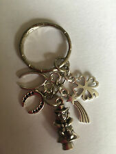 LUCKY Vintage Style Silver Color Key Ring Bag Charm - 4 leaf Clover Wishbone