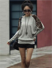 Women's Ladies Leopard Print Batwing Long Sleeve Loose Fit Top/tunic/T-shirt