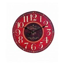 French Country Large Wall Clock Classic Red Cream Painted Vintage Style Oversize