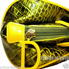John Galliano Christian Dior Metallic Green Yellow Color Patent Leather  Handbag