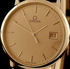 Classic Omega Quartz Ultra Slim Champagne Dial Gold Plated Dress Watch with Date