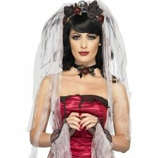Womens Gothic Bride Kit With Rose Skull Veil Choker Gloves Halloween Fancy Dress