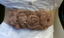 WOMEN WAIST ELASTIC BEIGE FASHION BELT W/ CHIFFON FLOWERS BUCKLE SIZES S M L XL