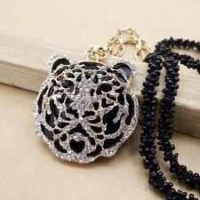 Fashion gold plating Crystal tiger sweater chain long necklace CC0266