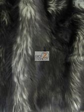 FROZEN SHAG FAUX FAKE FUR LONG PILE FABRIC - Black - BY YARD COSTUME SHAGGY
