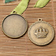 6pcs antiqued bronze color crown pattern round cabochon setting in 25mm EF3113