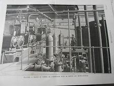 Gravure 1887 - La Poste Machine à vapeur et pompes pours les monte Charges