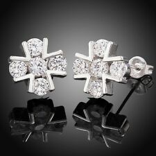 NEW Wholesale 925 Silver Plating Cross Zircon Stud Earrings LF