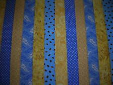 "12 JELLY ROLL STRIPS BLUE & LEMON  44"" X 2.5""  100% COTTON PATCHWORK/QUILT BML"
