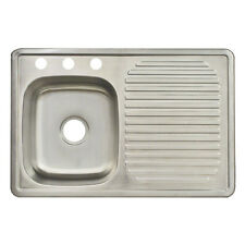 Franke USA FDBS703BX Single-Bowl Kitchen Sink w/ Drain Board, Stainless Steel