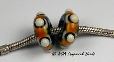 ROA Lampwork 2 Black, White, Yellow Euro Block Style Handmade Art Glass Beads