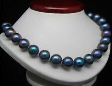 """Charming AAA 10-11mm Black Tahitian Cultured PEARL NECKLACE 18"""""""
