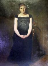 Ludwig Knaus (1829 -1910) -  Portrait einer jungen Dame  - 102 x 71 Öl Leinwand