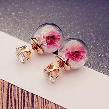 Pretty Women Elegant Flower Rhinestone Glass Ear Stud Fashion Lamp Earrings