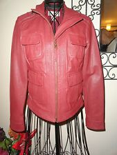 LUCKY BRAND Dark RED LEATHER JACKET Size SMALL ~ NWT!