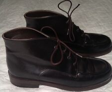 Brown Ankle Boots Size 7 Vintage 90s Boho Hipster Leather Lace Up Short Classy