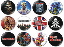 12 x Iron Maiden 32mm BUTTON PIN BADGES Heavy Metal Band Book of Souls Maiden