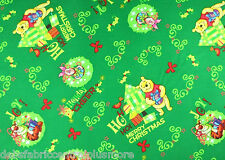 """DISNEY  Winnie The Pooh Piglet Tigger """"Merry Christmas"""" Cotton Fabric BTY"""