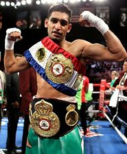 AMIR KHAN 8X10 PHOTO BOXING PICTURE WITH BELTS
