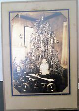 Vintage Christmas photo boy with pedal car present and Christmas tree 1920-30's