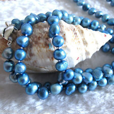"""54"""" 7-8mm Blue Baroque Freshwater Pearl Necklace Strands L"""