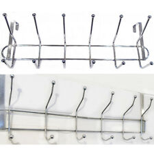 LARGE 12 Hooks Over Door Rail Metal Hanger Drawer Clothes Kitchen Storage Rack