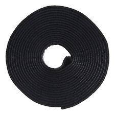 Hook And Loop Tape Strap Cable Ties Fastener Black 15FT Self Adhesive Roll Wrap