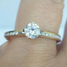 1 c 10K Yellow gold round man made diamond  Eternity Engagement ring S 7.5 8 8.5