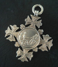 EARLY Sterling Silver Fob Medal / Pendant - Tug Of War 1919 Smiths Athletic club