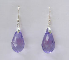 FACETED DEEP LAVENDER ACRYLIC CRYSTAL BRIOLETTE TEARDROP SILVER PL DROP EARRINGS