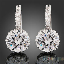 New Women's 18k White Gold Gp Clear Swarovski Crystal Zircon Cz Earrings 2016