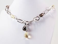 Roberto Coin 925 Sterling Silver Citrine & Smoky Quartz Station Necklace Choker