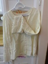 LUCKY BRAND Ivory Lace Bell Sleeve Top, Size Medium, Preowned