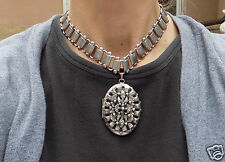 Huge Vintage Silver T Victorian Revival Book Chain Puffy Locket Choker Necklace