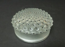 """LALIQUE FROSTED CRYSTAL """"CACTUS No. 1"""" POWDER BOX with ENAMEL DECORATION"""