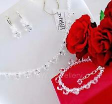 925 STERLING SILVER BRIDAL SET NECKLACE+EARR+BRACELET SWAROVSKI Elements BICONE
