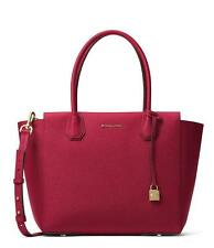 NWT MICHAEL KORS STUDIO MERCER LARGE PEBBLE LEATHER SATCHEL CHERRY RED