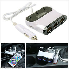 Car Cigarette Lighter Adapter 5 Way DC Socket Plug Dual USB Charger Universal