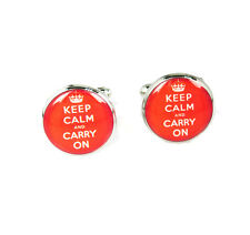 Vintage Silver Keep Clam And Carry On Jewelry Xmas Wedding Gift Men Cufflinks